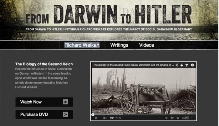 """Página de abertura do site """"From Darwin to Hitler"""", do criacionista Richard Weikart. Imagem: reprodução"""